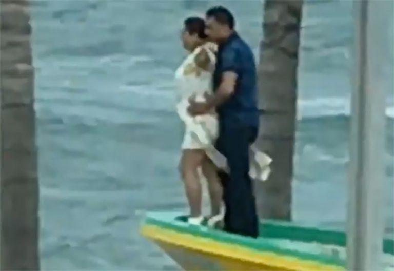 Pareja emula escena del Titánic en el Puerto de Veracruz y video se viraliza
